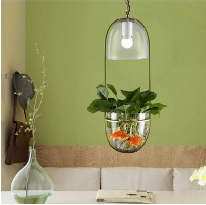 pendant lights plants hanging lamps Modern minimalist garden ecological restaurant creative Cafe bedside water glass rudi hilmanto local ecological knowledge