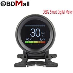 Image 1 - Nowy A205 wielofunkcyjny samochód OBD2 inteligentny miernik cyfrowy Alarm miernik temperatury wody cyfrowy miernik napięcia prędkościomierz