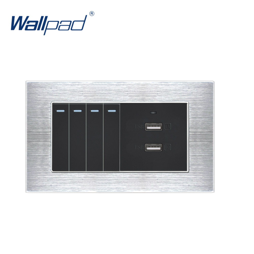 4 Gang 2 Way Switch With 2 USB Charger Fast Charge Wallpad Luxury Wall Outlet Satin Metal Panel 146*86mm 5V 2400MA