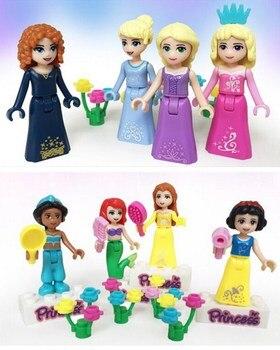 8Sets Girl Friend Princess Fairy Tale Anna Elsa White Snow Model  Figure Blocks Construction Building Bricks Toys For Children 4