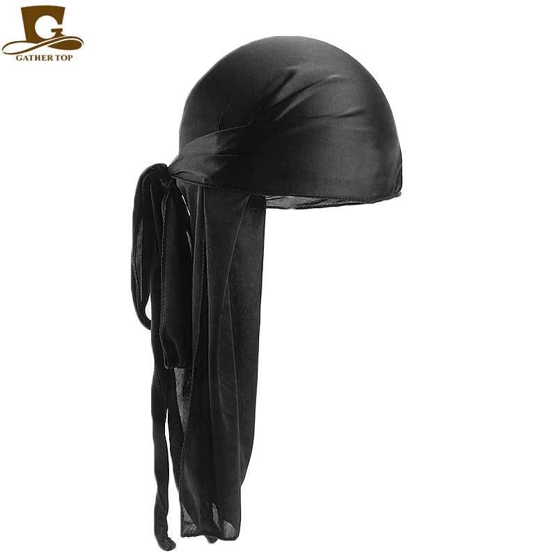 Erkek Ipeksi Durags Bandana Türban şapka Peruk Doo Erkekler Saten Durag Biker Şapkalar Kafa Bandı saç aksesuarları Ekstra Uzun Kuyruk Du -bez