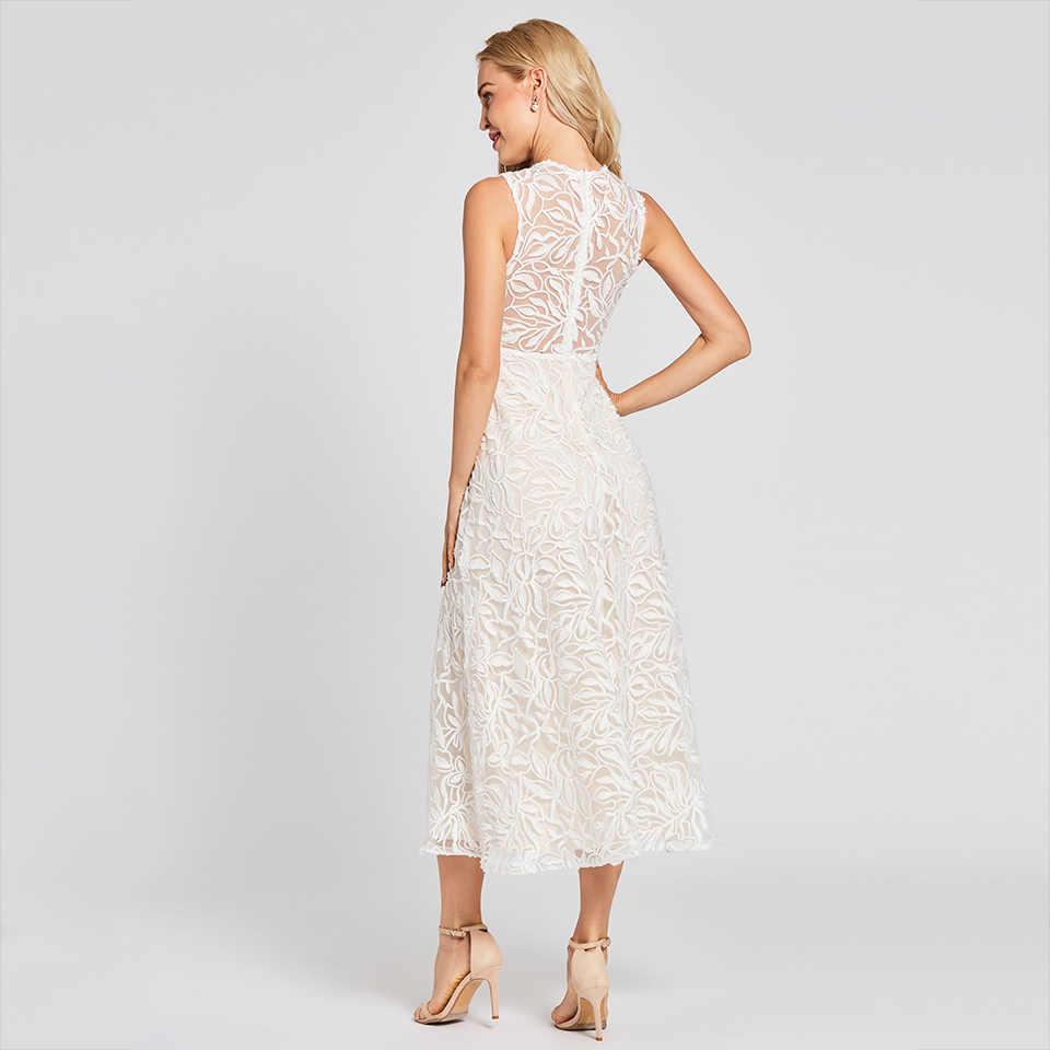 7ab6a9af26e ... Платье вечернее платье 2018 ТРАПЕЦИЕВИДНОЕ белое без рукавов Кружевное простое  платье большого размера красивое сексуальное платье ...