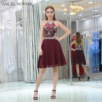 Angel Novias Sexy Burgundy Crystals Homecoming Dress 2018 Knee Length Short Party Dress vestidos de graduacion cortos