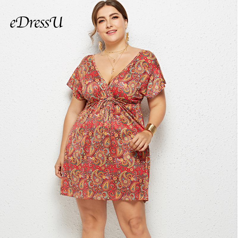 2019 Women Summer Print Dress Plus Size Sexy V Cut Short Sleeves Holiday Beach Wear Casual Daily Dress eDressU LMT 6021 in Dresses from Women 39 s Clothing