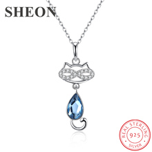 SHEON Animal Collection 925 Sterling Silver Lovely Pet Cat Crystal Pendant Necklace for Women Jewelry