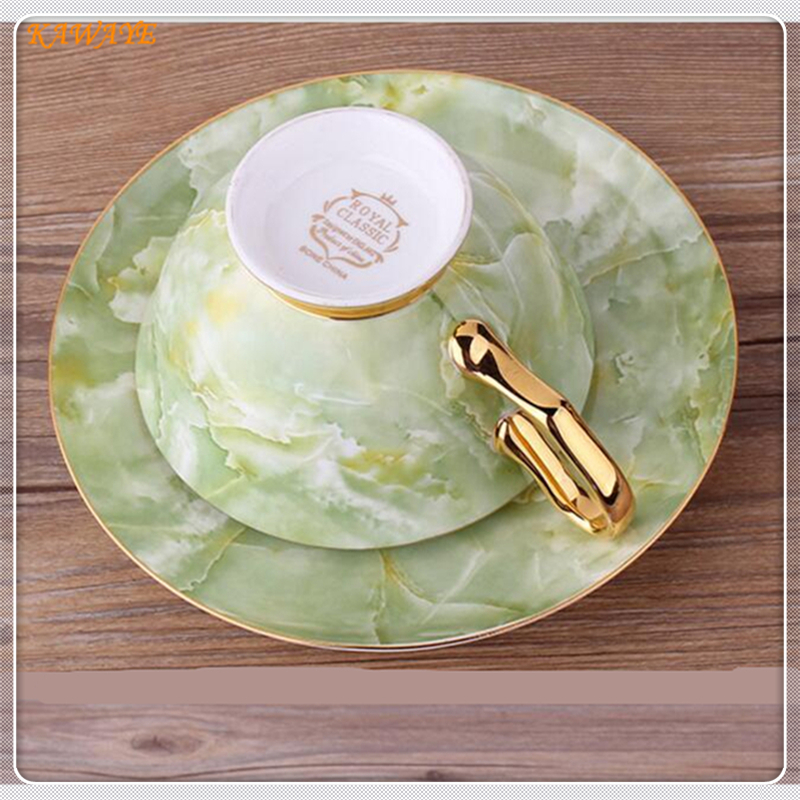 1 set European Leisure Afternoon Tea Coffee Cup Saucer Fine Bone China Coffee Cup Classic Green Marble Stripe coffee cup 5ZDZ458 in Cups Saucers from Home Garden