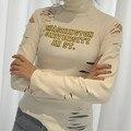 Ручной Резки Письмо Футболки Тонкий Основной Водолазка Белая Рубашка Женщина