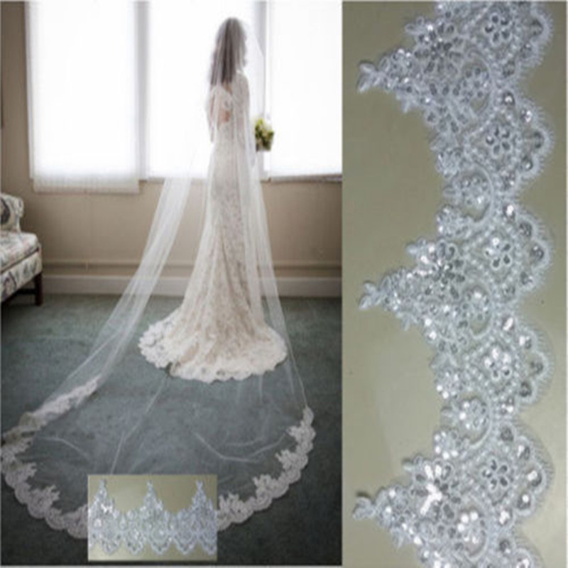 280 CM Long 140 CM Width Cathedral 1T Wedding Veils Lace Sequin Appliqued White Ivory Long Voile Marriage Bridal Accessories