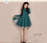 YANHTA Spring Vintage Retro Long Sleeve Mandarin Collar Floral Print Casual Loose Plus Size Cotton Dress