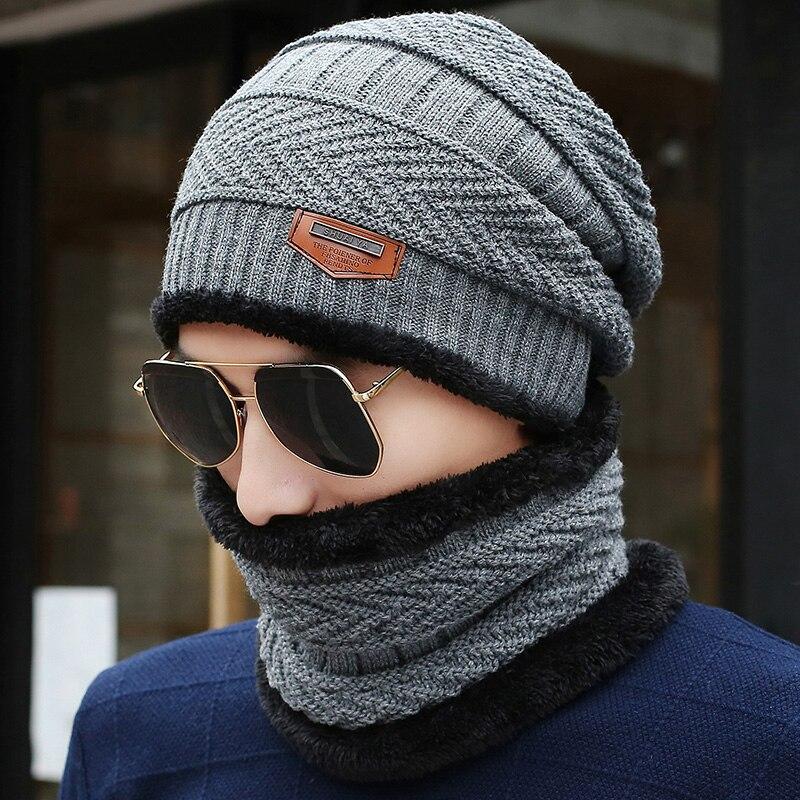 1ec5b0a47 2017 New Knitted Winter Hat Scarf Beanies Knit Men's Winter Hats ...