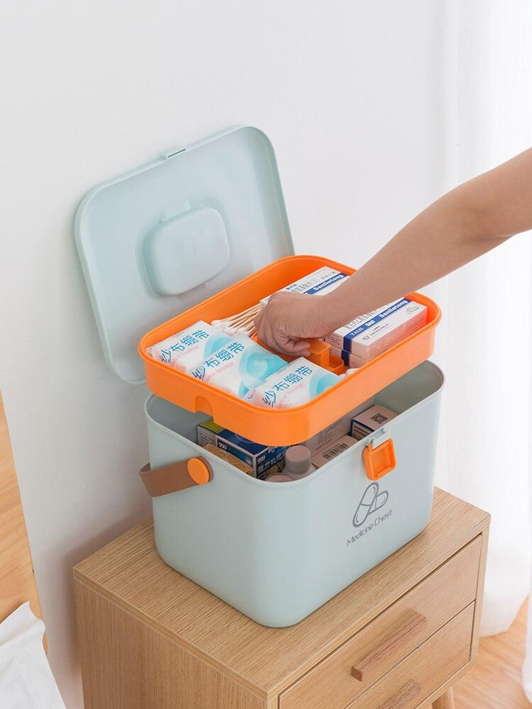 Portable Kit Ménage Enfant Grande Trousse de Premiers soins multi-couche Portable En Plastique De Cas Médicaux Box De Stockage des Médicaments