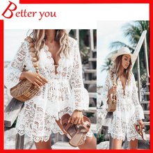 Summer women dress 2019  white color V neck floral casual lace sexy loose full sleeve beach