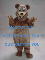 Happy Bear Mascot Costume Adult Size Happy Smiling Brown Bear Mascot Outfit Suit EMS FREE SHIP SW511