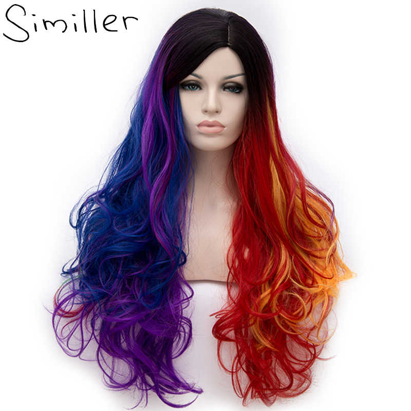 Similler Long Curly Multi-Color Synthetic Rainbow Full Wigs for Cosplay Girls Party Wig Cap Included