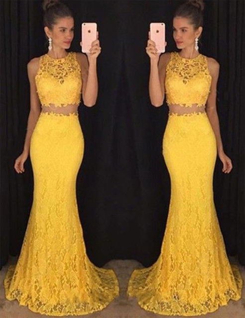 6bfa12a1ec5 Beautiful Mermaid Lace Prom Dresses Two Piece Yellow Prom Dress Long Girls  Fashion Prom Gowns Dresses Sexy Party Dress RT52