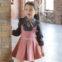 赤ちゃんの女の子セット秋2016秋幼児女の子セット衣類コットン幼児服ベビースーツ子供セットサスペンダースカートとブラウス
