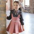 Meninas do bebê Define Outono 2016 Outono Conjuntos de Roupas Menina Infantil Roupas de algodão Da Criança Do Bebê Terno Crianças Conjuntos de Saia Suspender E blusa