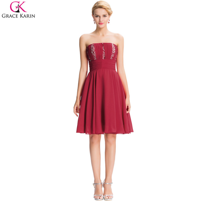 Grace Karin Red Short Prom Dresses Under $50 Burgundy Chiffon Party ...