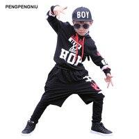 PENGPENGNIU Chicos Hip Hop Ropa Niños Niñas Traje de la Danza de La Calle 3 Unidades de la Ropa para el Otoño Invierno 2017 Chicas Bailando traje
