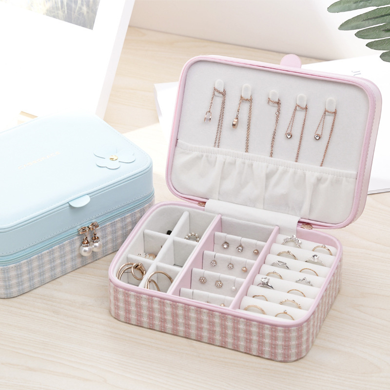 Travel Portable 2 Layer Jewelry Box Necklace Rings Earrings Bracelet Packaging Display Organizer Fashion Gift Box Case Supplies