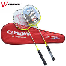 1 Pair Carbon Aluminum Professional Badminton Racket With Bag CAMEWIN Brand High Quality Badminton Racquet Green Black Grey(China)