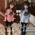 Nuevos bebés del otoño suéter Niña de Dibujos Animados Sombrero de Manga Murciélago priint o-cuello lleno de ropa adolescente ropa de niños 4-13 años de edad