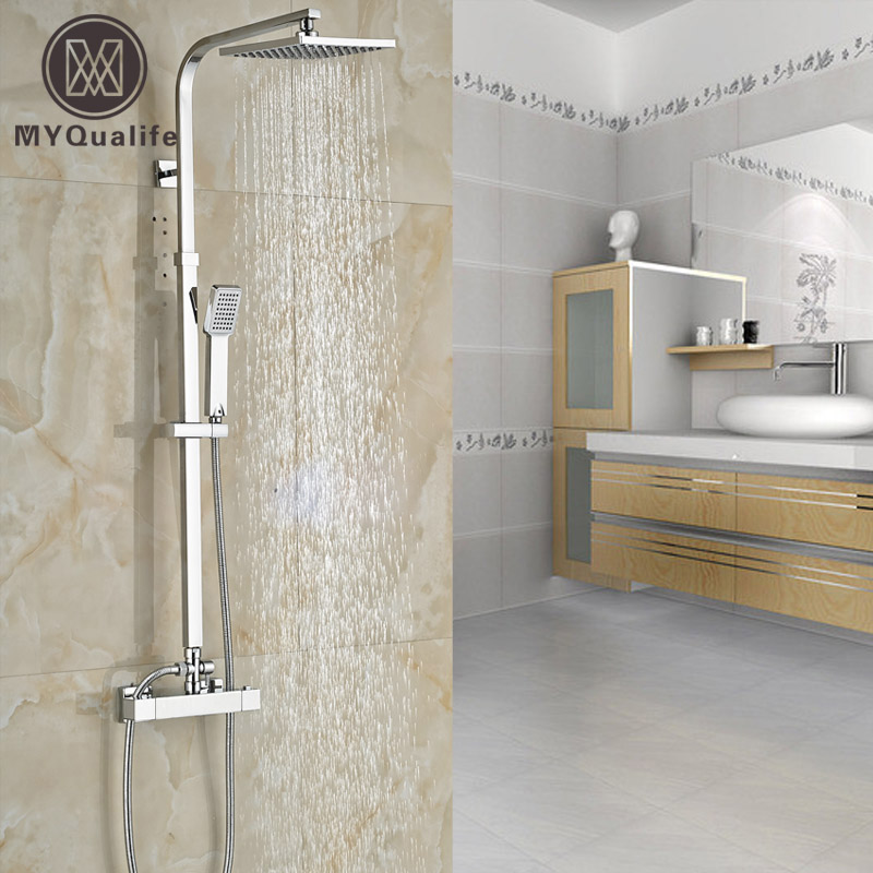 Polished Chrome Constant Temperature 8 Rainfall Shower Faucet Set Dual Handle Wall Thermostatic Shower Mixer System wall mounted two handle auto thermostatic control shower mixer thermostatic faucet shower taps chrome finish