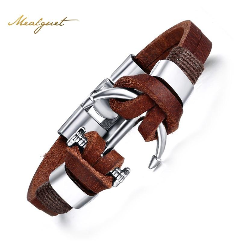 Meaeguet Men's Leather Bracelet Jewelry Pirate Style Alloy Anchor Bracelet For Male JoyerIa Anclas Pulsera & Brazalete
