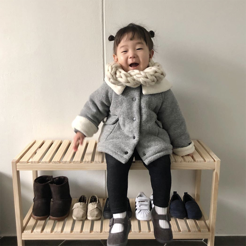 Baby Bench Furniture Wood Chair Kids Shoe Rack Shoes Storage Shelf Two Layer Toys Organizer Children Stool Baby Home Photography