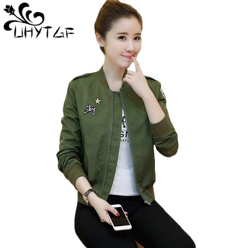 UHYTGF Women's Wild   Jackets   Summer Causal windbreaker Baseball uniform Women   Basic     jackets   Coats Korean Slim   Jackets   Famale X212