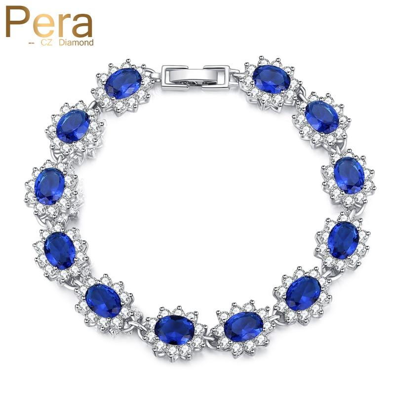 Pera Vintage Royal Smycken Sterling 925 Silver Oval Blå Cubic Zirconia Länk & Kedje Armband För Kvinnor Julklapp B014
