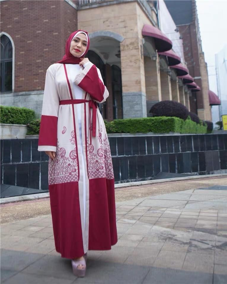 Elegant Print Full Abaya Dubai Muslim Dress Islamic Clothing Caftan Turkish Arabic Eid Mubarak Gown Women Dress Free Shipping