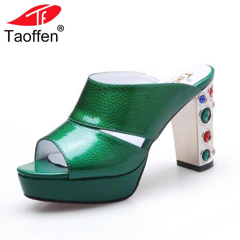 TAOFFEN Mature Women Real Genuine Leather High Heel Sandals Women Beading Open Toe Gold Heel Slippers Women Shoes Size 34-39 taoffen women high heel sandals open toe pleated concise slippers solid color shoes women footwear summer party size 34 39