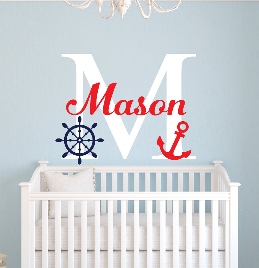 Customize Name Nautical Little Sailor Room Decor Personalized Boys Name Wall Stickers For Kids Room Baby Wall Decals JW010A