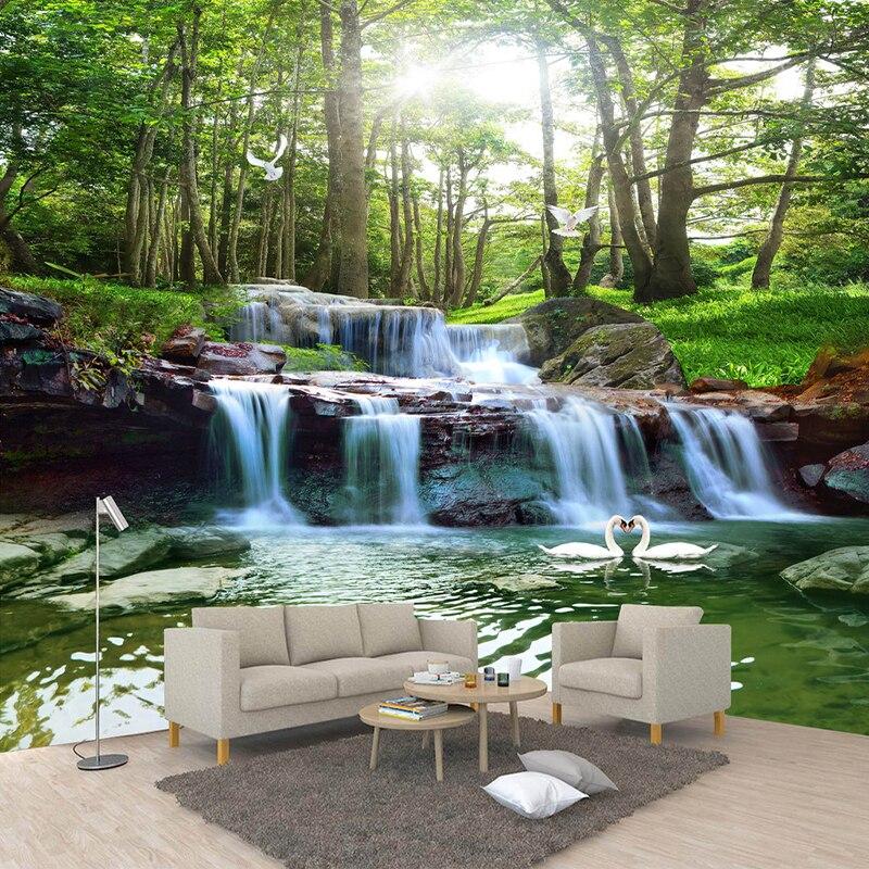 Custom Photo Non-woven Wallpaper Murals Waterfall Nature Landscape Papel De Parede 3D Living Room Sofa TV Background Decoration