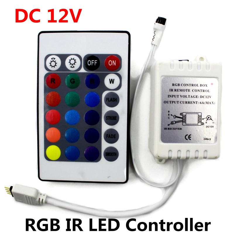 DC12V RGB IR-afstandsbediening 24 toetsen LED-driverdimmer voor LED-striplicht SMD 2835/3528/5050/5730/5630/3014