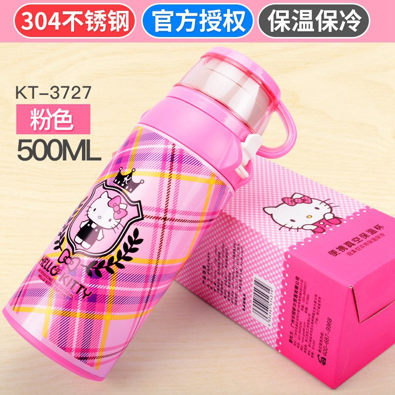 Disney Hello Kitty children thermos cup portable vacuum cup 304 stainless steel safety Hello Kitty straight drink cup anti fall. creative fashion portable stainless steel vacuum cup