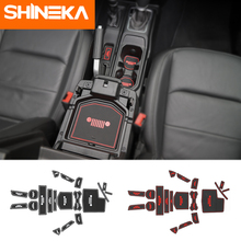 SHINEKA 19pcs Interior Mouldings for Jeep Wrangler 2018 JL Latex Car Cup Mat Gate Slot Mats Carpets Pads Decoration