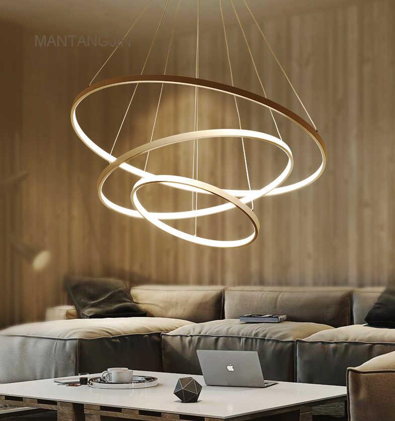 Black/White/Golden Modern pendant lights for living room dining room 4/3/2/1 Circle Rings acrylic aluminum body LED pendant Lamp