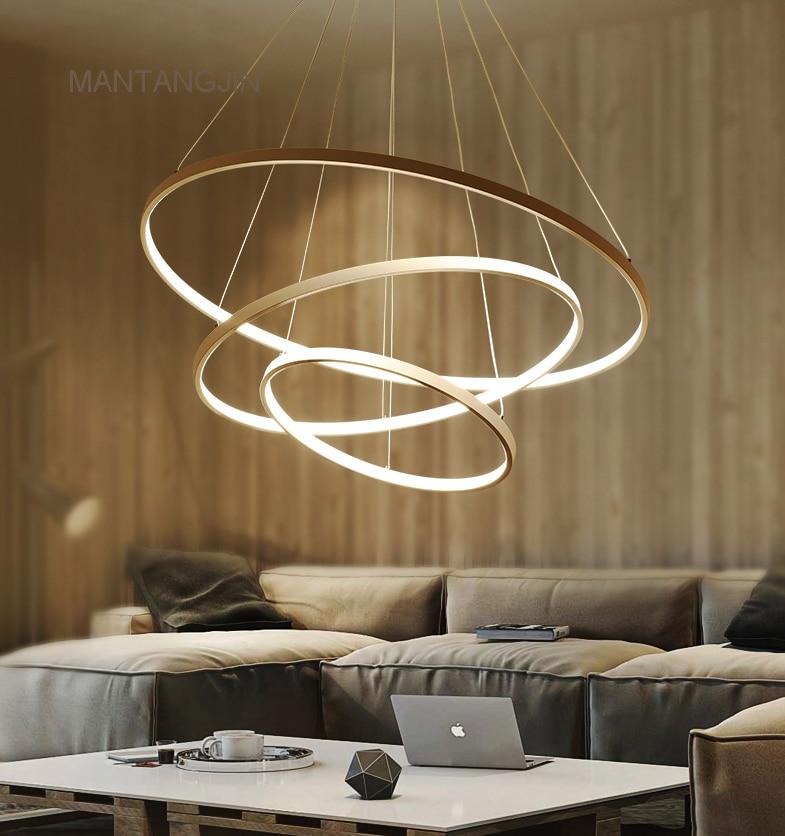 € 22.44 65% de réduction|Noir/blanc/doré moderne pendentif lumières pour  salon salle à manger 4/3/2/1 cercle anneaux acrylique aluminium corps lampe  ...