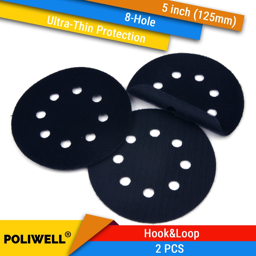 2PCS 5 Inch(125mm) 8-Hole Ultra-thin Surface Protection Interface Pad For Sanding Pads And Hook&Loop Sanding Discs Thin Sponge