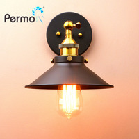 PERMO Vintage Sconce Wall Light Iron Rustic Wall Lamp E27 Lamp Base Industrial Luminaire New Year Christmas Decorations For Home