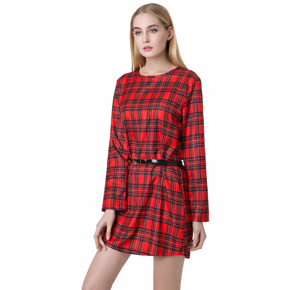 2019 весеннее Новое модное женское мини винтажное платье клетчатая Шотландка с принтом на молнии с круглым вырезом и длинным рукавом офисное платье
