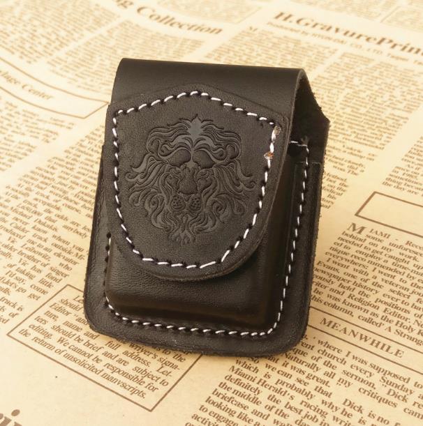 León impresión hecha a mano de cuero genuino caso encendedor keroseno cubierta holder bolsa portátil USB cigarrillo electrónico encendedor caja