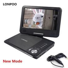 LONPOO 9 дюймов Портативный DVD плеер поворотный Экран/VCD/компакт-дисков MP3 dvd-плеер USB SD карты RCA ТВ кабель игры автомобиля Зарядное устройство DVD плеер