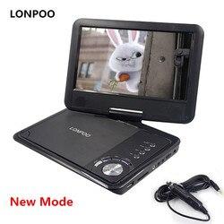 LONPOO جديد 9 بوصة مشغل دي في دي محمول دوارة شاشة VCD CD MP3 مشغل ديفيدي USB SD بطاقة RCA كابل تلفزيون لعبة شاحن سيارة مشغل ديفيدي
