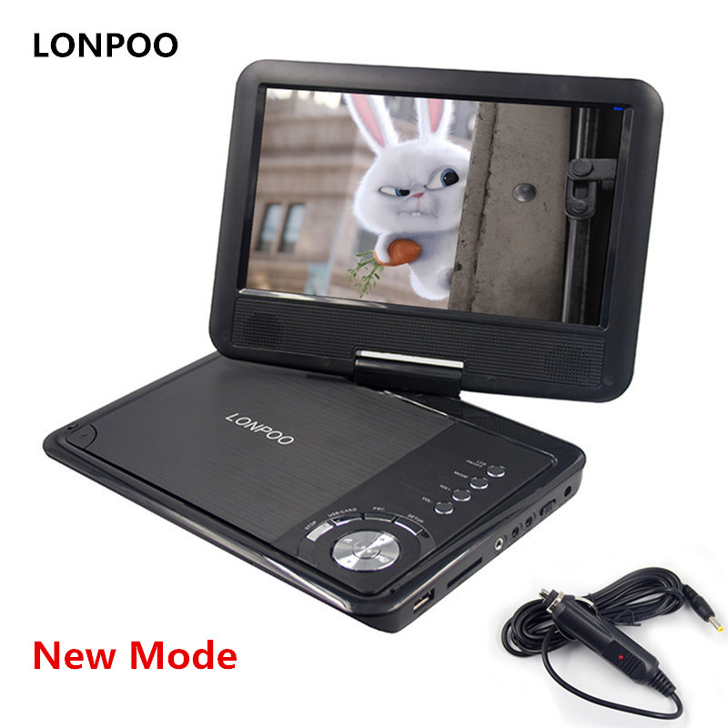 LONPOO Baru 9 inci Pemain DVD Portable Swivel Screen VCD CD MP3 DVD Player USB SD Card RCA TV Kabel Permainan Pengecas Kereta Pemain DVD