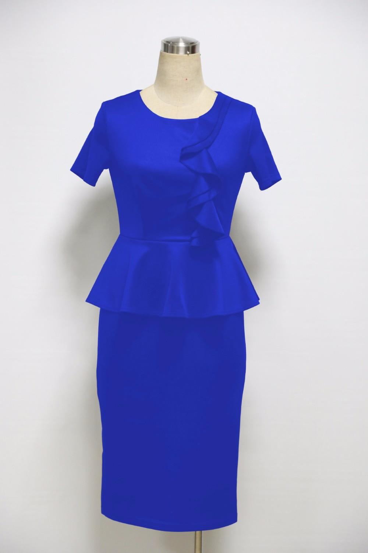 Ruffles Pencil Dress Everyday Dresses Office Work Dress Vestido Oficina De Trabajo Vestido Na Altura Do Joelho Knee Length Dress