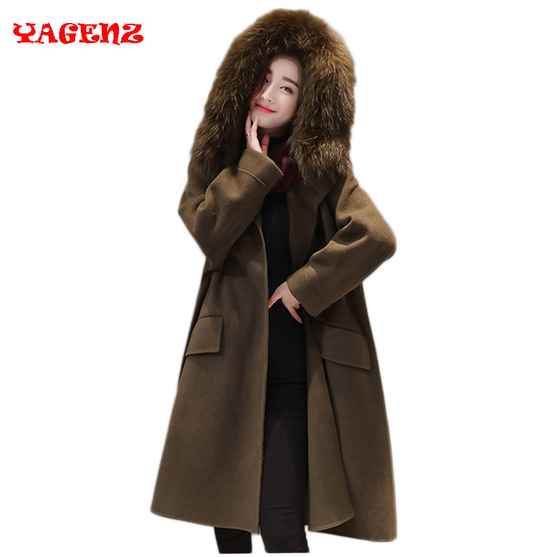 2018 Winter Fashion Women New Coat Long sleeve Medium Long High quality Wool Trench Coat Loose Super Warm Woolen Trench Women