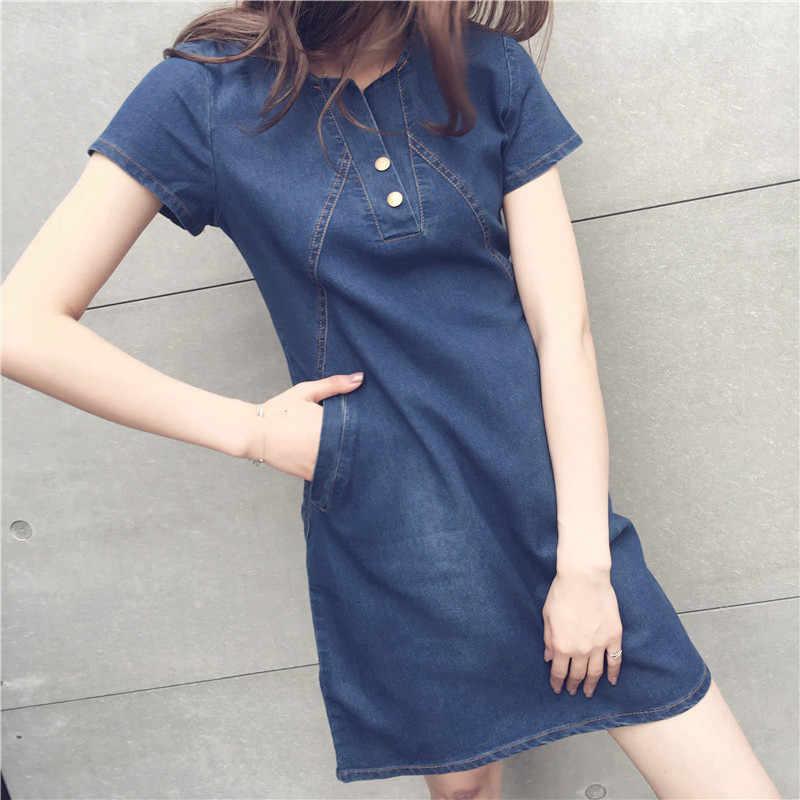 Модные новые большие размеры S-5XL женские платья сплошной цвет Тонкий был тонкий джинсовое платье Femme летнее платье дикие свободные Vestidos MZ2557